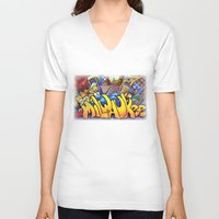 milwaukee V-neck T-shirts featuring MILWAUKEE: heartMilwaukee by Amanda Iglinski