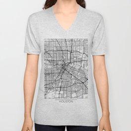 Houston Map White Unisex V-Neck