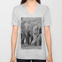 12,000pixel - 500dpi, High Quality Photograph - Waterside Elephant Family - Black and white Unisex V-Neck