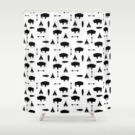 Buffalo Tribe // Solid Black Shower Curtain