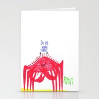 cuddle Stationery Cards featuring Wanna Cuddle? by Ryan van Gogh