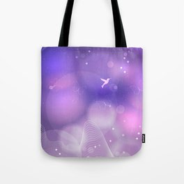 floral background with flowers, leaves, bird and branches of blooming tree. Stylized garden in tints Tote Bag
