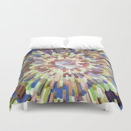 Abstract 3D Blocks - Green/Blue Duvet Cover