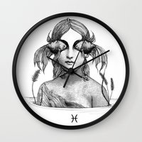 pisces Wall Clocks featuring Pisces by Carolina Espinosa