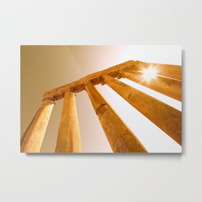 Sun Rays through Columns Metal Print