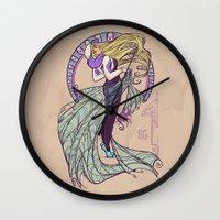 nouveau Wall Clocks featuring Spider Nouveau by Karen Hallion Illustrations