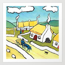 The West of Ireland - Coming home from Mass Art Print
