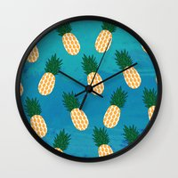 pineapples Wall Clocks featuring Pineapples  by Ashley Hillman