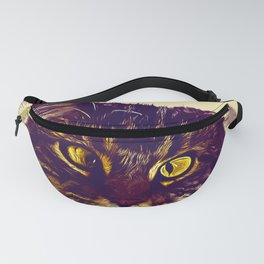 squinting maine coon cat vector art foggy night Fanny Pack