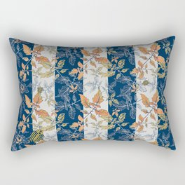 Tomatoes leaves in coral and blue stripes Pantone palette Rectangular Pillow