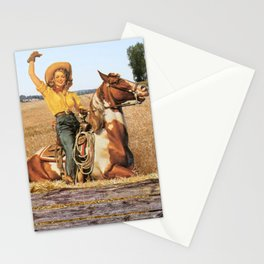 Vintage Western Cowgirl On Horse In Hay Field Stationery Cards