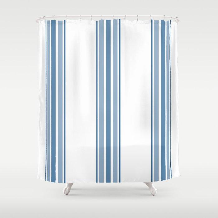 Farmhouse Blue Ticking Stripes On White Shower Curtain