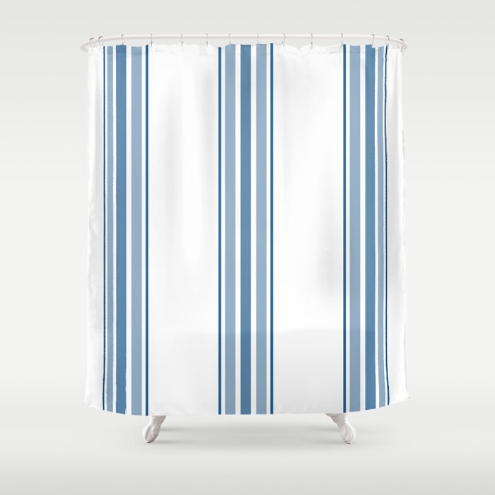 Farmhouse Blue Ticking Stripes On White Shower Curtain