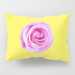 pink rose with yellow background Pillow Sham