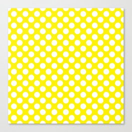 White Polka Dots with Yellow Background Canvas Print