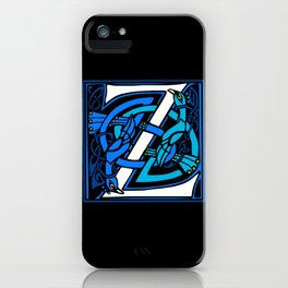 Celtic Peacocks Letter Z iPhone Case