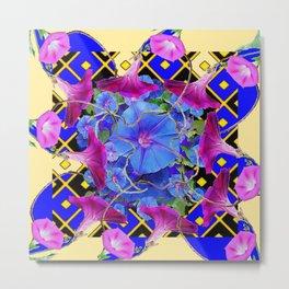 Abstract Blue-Cream Purple Morning Glories Art Metal Print