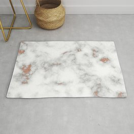 Rose gold gray and white marble Rug