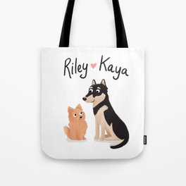 "Custom Dog Artwork, ""Riley and Kaya"" Tote Bag"