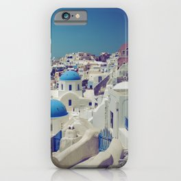 Blue Domes, Oia, Santorini, Greece iPhone Case