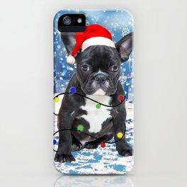 French Bulldog Holidays Christmas Snow iPhone Case