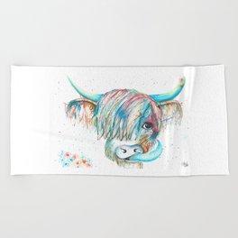 Highland Cattle full of colour Beach Towel