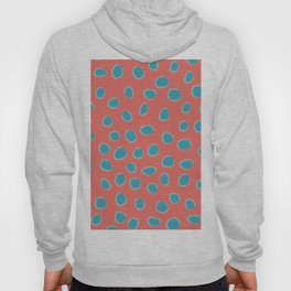 Living Coral and Turquoise, Teal Polka Dots Hoody