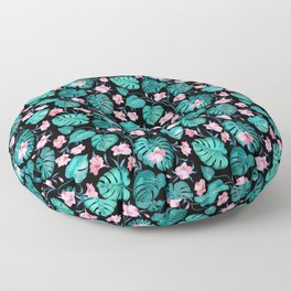 Tropical teal pink black vector floral pattern Floor Pillow