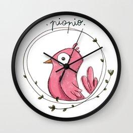 Piopio Pink Wall Clock