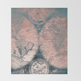 Vintage World Map Rose Gold and Storm Gray Navy Throw Blanket
