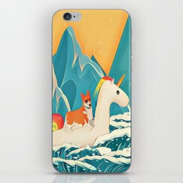 Corgi and the rainbow unicorn iPhone Skin