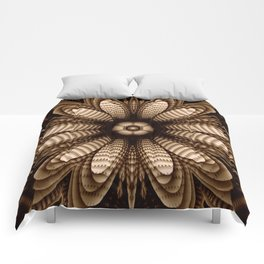 Abstract flower mandala with geometric texture Comforters