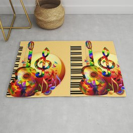 Colorful  music instruments painting, guitar, treble clef, piano, musical notes, flying birds Rug