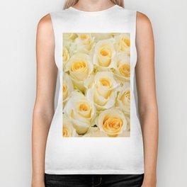 Delicate yellow-white roses Biker Tank