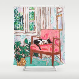 Little Naps - Tuxedo Cat Napping in a Pink Mid-Century Chair by the Window Shower Curtain