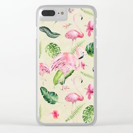 Tropical pink green ivory watercolor flamingo floral Clear iPhone Case