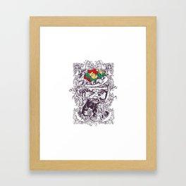 Skull with Brain OUT Framed Art Print