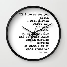 Charles Bukowski Typewriter Quote Centers Wall Clock