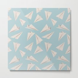 Paper Planes Pattern | White and Blue Metal Print