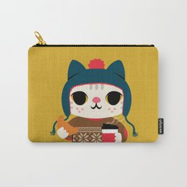Holiday - Cat in a Sweater / Mustard Yellow Carry-All Pouch