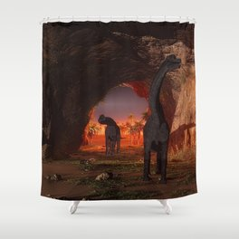 Brachiosaurus disappear in a cave Shower Curtain