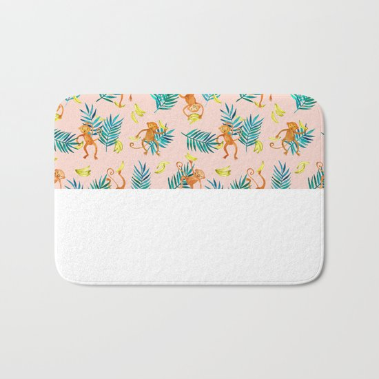 Tropical Monkey Banana Bonanza on Blush Pink Bath Mat
