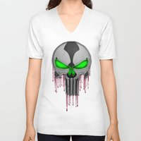 spawn V-neck T-shirts featuring Punisher Spawn Mash-Up by Joshua Epling