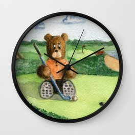 Golfer Bear Wall Clock