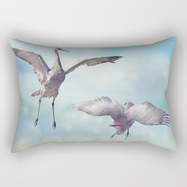 Pair of Sandhill Cranes  dance in the Florida wetlands Rectangular Pillow