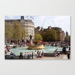 Water Fountain In Trafalgar Square, London Canvas Print