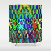 grateful dead Shower Curtains featuring Grateful Dead Dancing Bears Colorful Psychedelic Characters #2 by CAP Artwork & Design