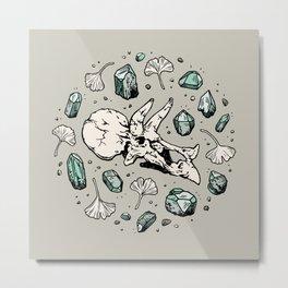 Triceratops Rocks! | Aquamarine | Dinosaur Skull Fossil Art Metal Print
