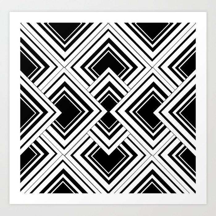Black And White Art Deco Squares Print