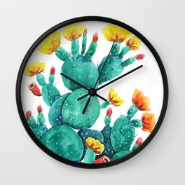 flowering cactus watercolor painting Wall Clock